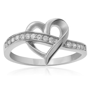 Journee Collection Sterling Silver Cubic Zirconia Accent Heart Ring