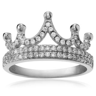 Journee Collection Sterling Silver Cubic Zirconia Accent Crown Ring