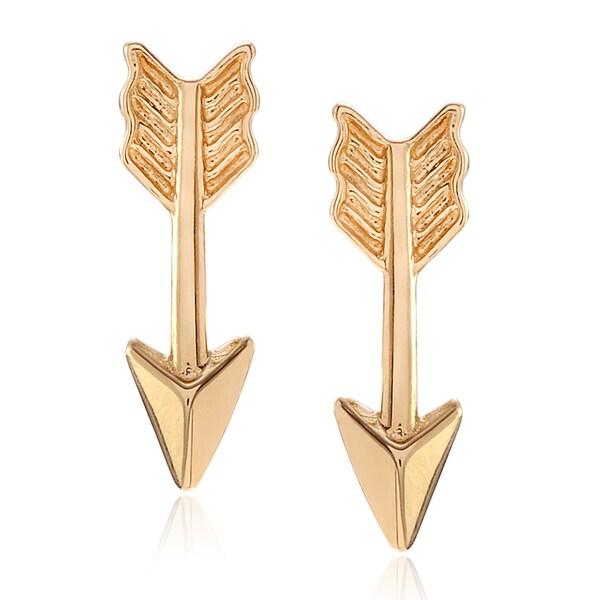 Journee Collection Women X27 S 14k Yellow Gold Arrow Stud Earrings