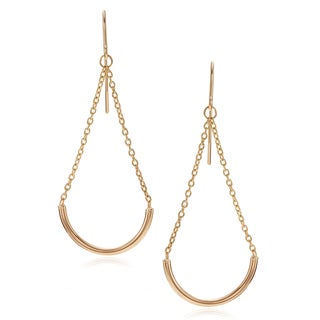 Journee Collection 14k Yellow Gold Curved Bar Dangle Earrings