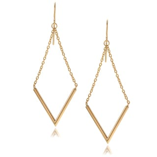 Journee Collection 14k Yellow Gold 'V' Bar Hook Dangle Earrings