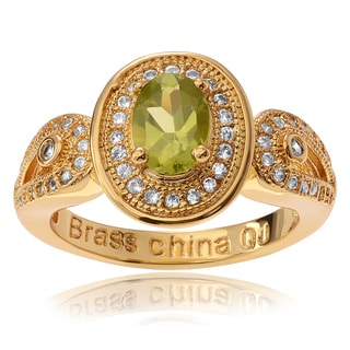 Journee Collection 14k Goldplated Sterling Silver Oval Peridot CZ Accent Ring
