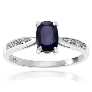 Journee Collection Sterling Silver Oval Sapphire Accent Ring