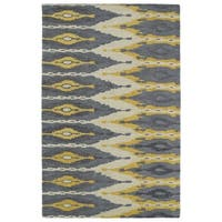 Handmade de Leon Wool Grey & Gold Ikat Rug - 5' x 8'