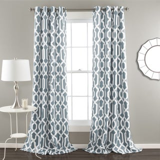 Lush Decor Edward Blackout Window Curtain Panel Pair in Blue 84-inch(As Is Item)