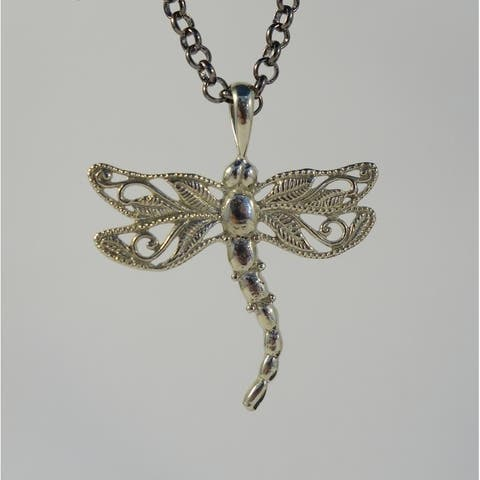 Handmade White Brass Dragonfly Necklace by Spirit (Indonesia)