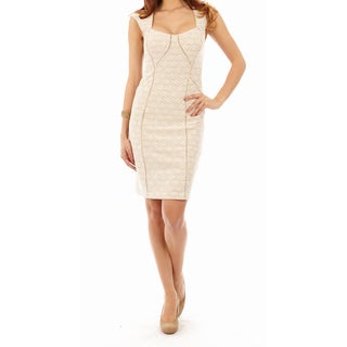 Cenia New York Women's Off-White Cap Sleeve Lace Sheath Dress