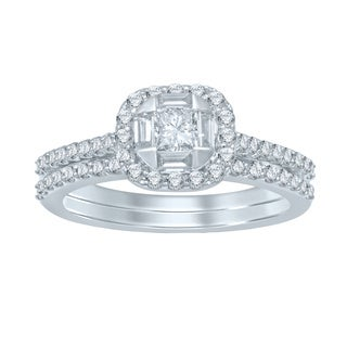 Unending Love 14k White Gold 1ct TDW Princess Center Diamond Bridal Set