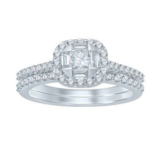 Unending Love 14k White Gold 1ct TDW Princess Center Diamond Bridal Set|https://ak1.ostkcdn.com/images/products/10884103/P17919780.jpg?impolicy=medium