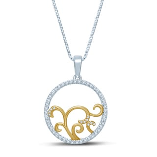 Unending Love 10k Gold and Silver 1/3ct TDW Circle Pendant (H-I, I1-2)