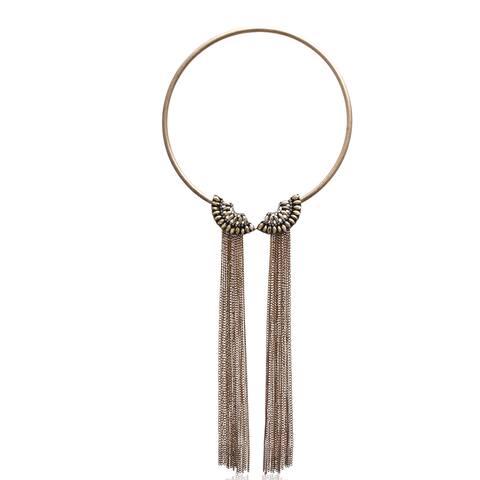 Passiana Gold Crystal Fringe Collar - White