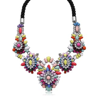 Adoriana Brass Crystal Beads Neon Statement Necklace