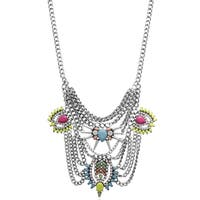 Passiana Neon Crystal Chain Statement Necklace - Pink