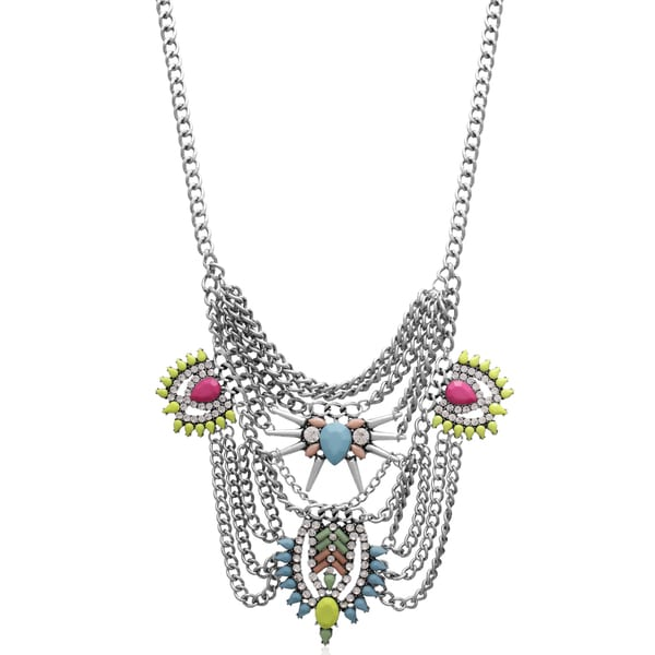 Passiana Neon Crystal Chain Statement Necklace