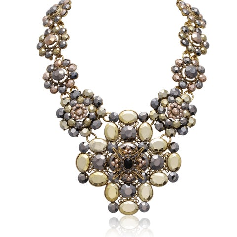 Passiana Metallic Floral Statement Necklace