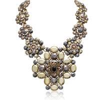 Passiana Metallic Floral Statement Necklace