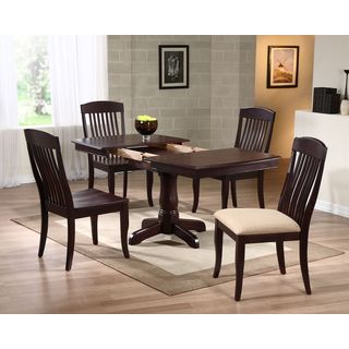 "Iconic Furniture 5-piece Mocha 36"" x 48"" x 60"" Boat Shape Contemporary Slatback Dining Set"