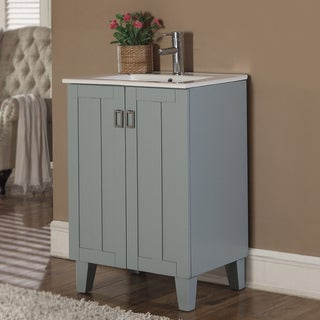 Infurniture 24-Inch Single Sink Bathroom Vanity in Grey Blue Finish