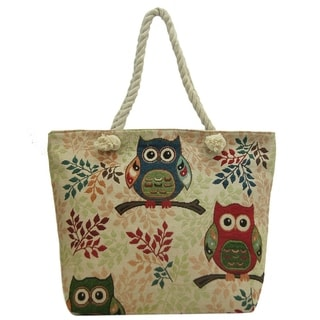 ALFA Traditional Zippered Owl Design Tapestry Tote Bag