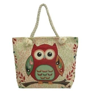 ALFA Traditional Tapestry Owl Zippered Tote Bag