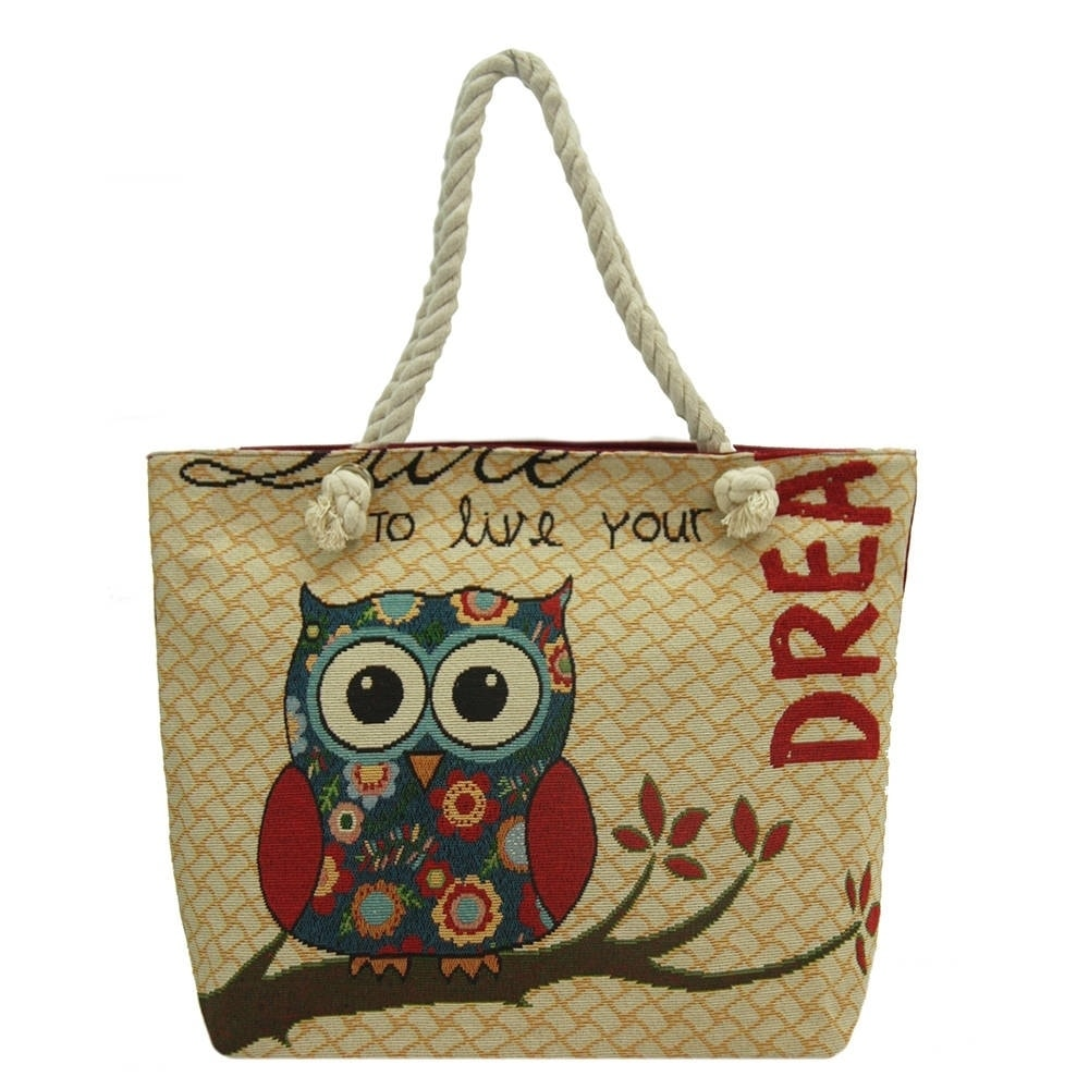 Alfa Traditional Tapestry Owl Dream Zippered Tote Bag (Re...