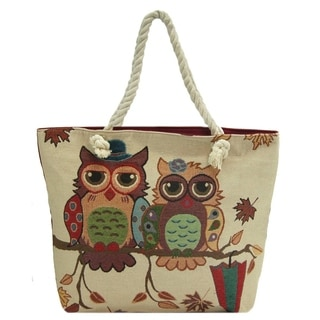 ALFA Traditional Tapestry Owl Tote Bag (Zippered)