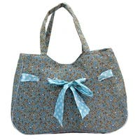 ALFA Floral Ultra Lightweight Tote Bag with Ribbon Detail - Blue