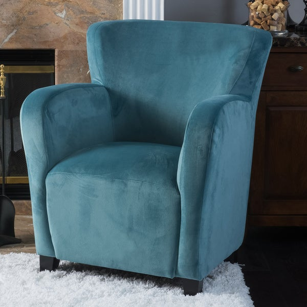 """Angelo Velvet Fabric Wingback Club Chair by Christopher Knight Home - 35.5""""H x 30.25""""D x 30.25""""W"""