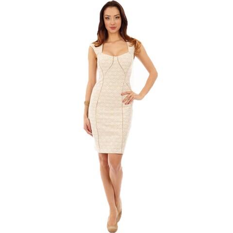 Dinamit Women's Off-White Sweatheart Neck Sheath Dress