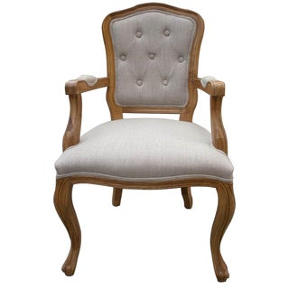 Jules Weathered Hardwood Tufted Armchair by Christopher Knight Home