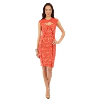 Key Hole Cap Coral Sleeve Sheath Dress