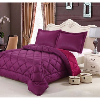 HCI Hand Crafted Brushed Velvet Down Alternative Reversible Twin Magenta and Mulberry Comforter Set