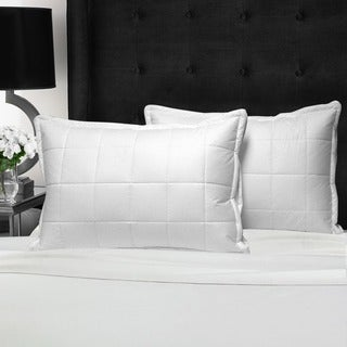 Swiss Comforts Cotton Loft Quilted Pillow Downproof Cover - White