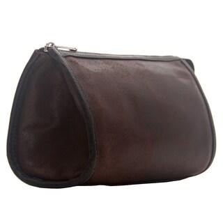 Piel Leather Vintage Tear-Drop Cosmetic Bag