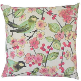 Tattuye Floral 18-inch Feather and Down Filled Throw Pillow