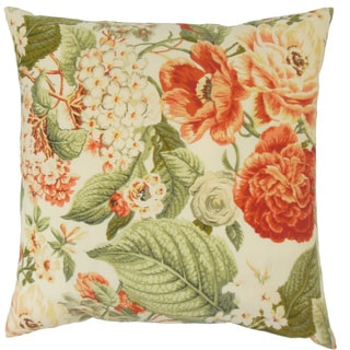 Xaviera Orange Floral 18-inch Feather and Down Filled Throw Pillow