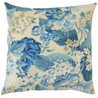 Xaviera Blue Floral 18-inch Feather and Down Filled Throw Pillow