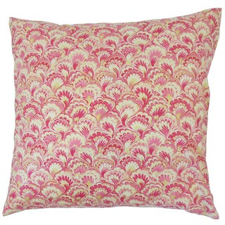 Zaltana Pink Damask 18-inch Feather and Down Filled Throw Pillow