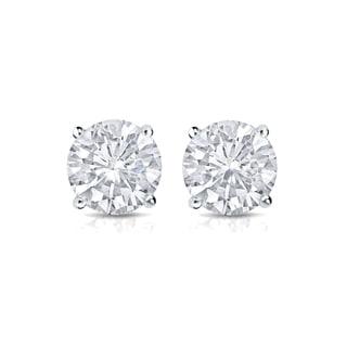 Auriya 14k Gold 3/5ct TDW 4-Prong Screw-Back Round Diamond Stud Earrings (H-I,SI2-SI3)
