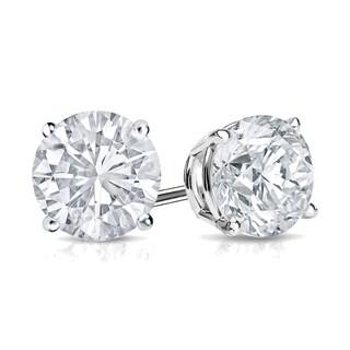 Auriya 14k Gold 3/4ct TDW 4-Prong Screw-Back Round Diamond Stud Earrings (H-I,SI2-SI3)
