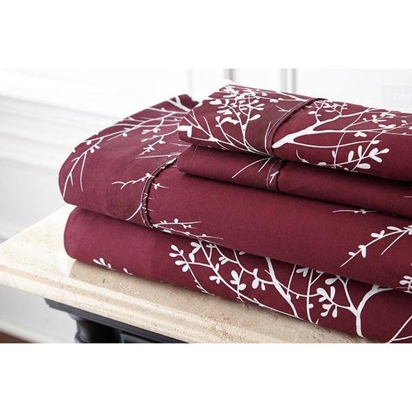 Branch Printed Luxurious Microfiber Sheet Set