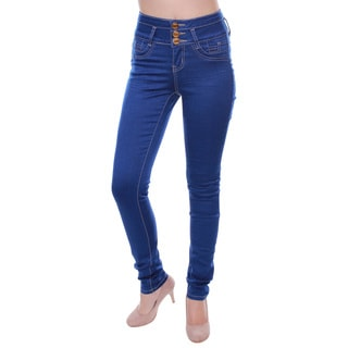 Sexy Couture Women's S2127-ps Denim Mid-rise Distress Skinny Jeans