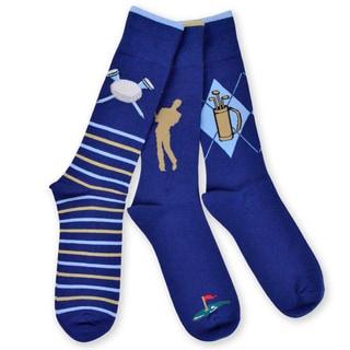 TeeHee Men's Golf Cotton Crew Socks 3-pack, Navy