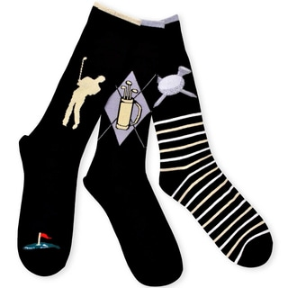 TeeHee Men's Golf Cotton Crew Socks 3-pack, Black