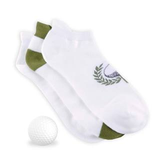 TeeHee Men's Golf Socks No Show with Tab 3-pack, Golf Ball, White