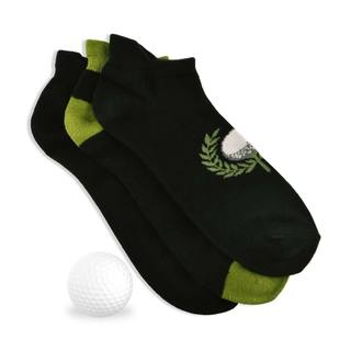 TeeHee Men's Golf Socks No Show with Tab 3-pack, Golf Ball, Black