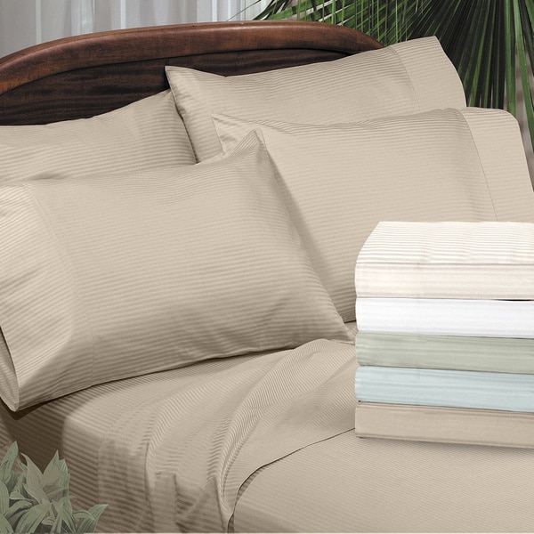 Grand Luxe Amalfi Dobby Stripe Egyptian Cotton 310 Thread Count Sateen Pillowcases (Set of 2)