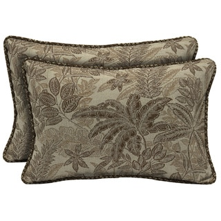 Bombay Outdoors Palmetto Mocha Reversible Outdoor Lumbar Pillows (Set of 2)