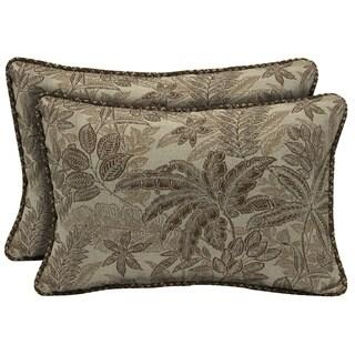 Bombay Outdoors Palmetto Mocha Reversible Outdoor Lumbar Pillows (Set of 2)