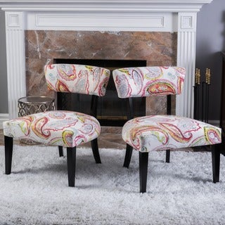 Christopher Knight Home Peta Paisley Fabric Accent Chair (Set of 2)